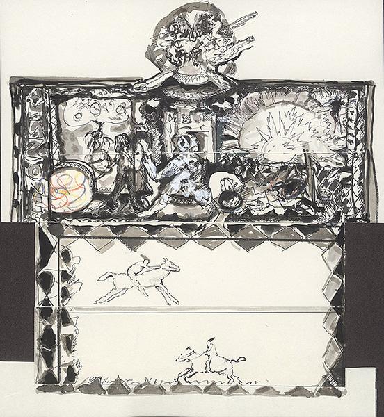 o.T. (mit Reitern), Collage, 32,8 x 29,7 cm, ink, ink-wash, Tipp-Ex, 2009/2010