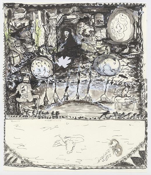 o.T. (Heinrich von Kleist), Collage, 34,4 x 29,7 cm, ink, gouache, Tipp-Ex, 2010