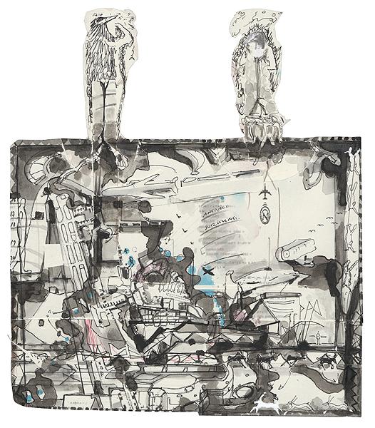 animals ueber cranach, 31,6 x 27,7 cm, collage, ink, watercolour, photocopy, 2010-2011