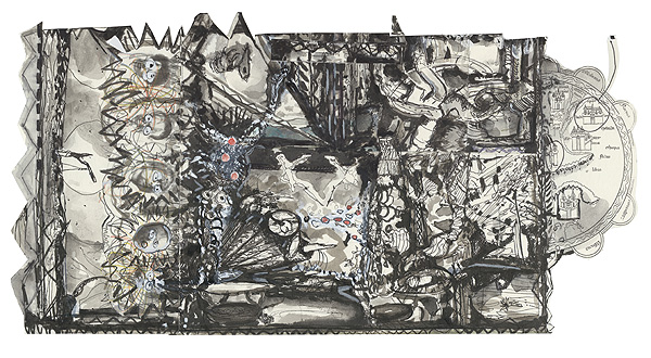 die krieger, 21,4 x 41,3 cm, collage, ink, watercolour, photocopy, 2010