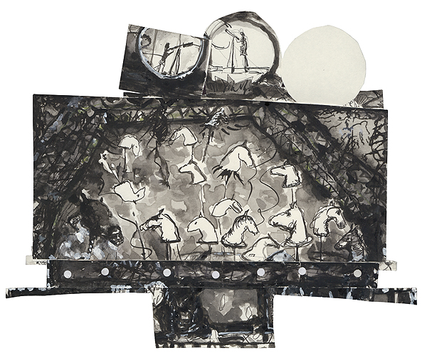 sterngucker, 24,2 x 29,5 cm, collage, ink, watercolour, photocopy, 2010