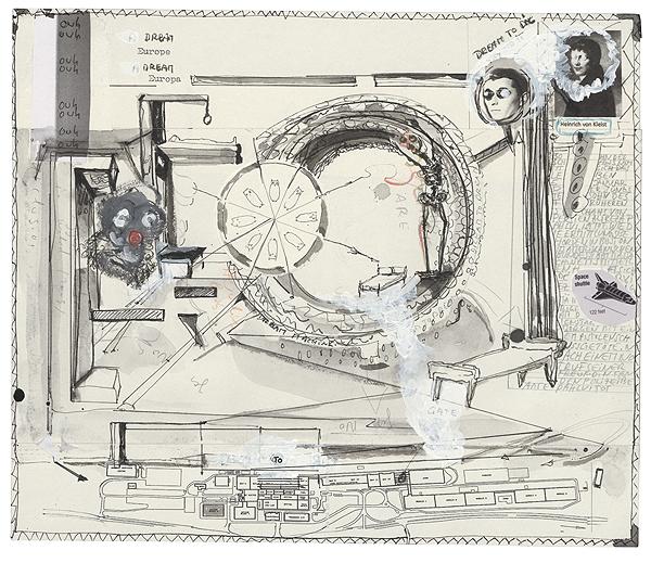 traum von Heinrich von Kleist, 25,1 x 29,5 cm, collage, ink, watercolour, photocopy, 2010