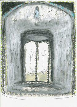 Frühling bis Herbst, 2015, Tusche und Ölkreide auf Papier, 29,7 x 21cm