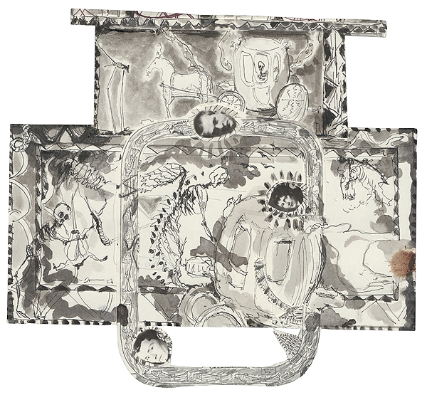 fuer mélles, 24,5 x 27 cm, collage, ink, watercolour, photocopy, 2010