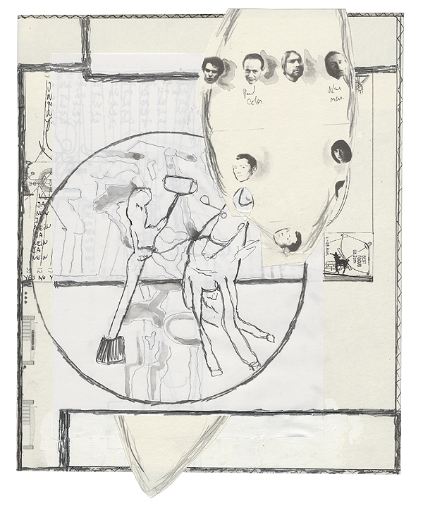 o.T., 26,5 x 21 cm, collage, ink, watercolour, photocopy, 2010