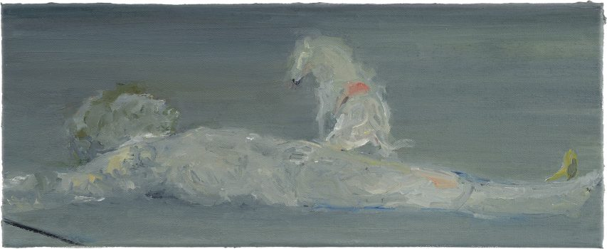 Short Cuts (Der Schläfer, nach Manet), 2007, Öl auf Leinwand, 20 x 50 cm
