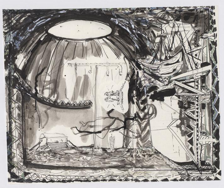o.T. (Frauenplan), Collage, 35,5 x 29,5 cm, ink, gouache, 2010
