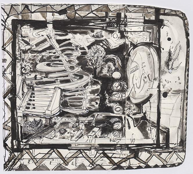 o.T. (Vögel Spital), Collage, 28 x 31 cm, ink, 2010