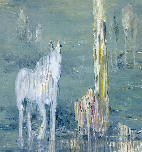 die quelle am bach, 196 x 184 cm, oil on canvas, 2005