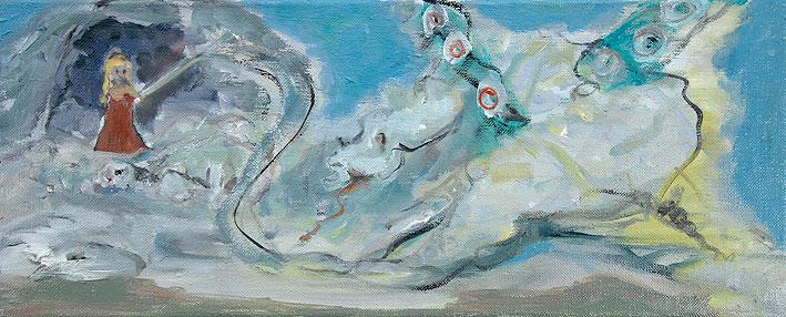 heiliger georg mit dem drachen (nach uccello), 20 x 50 cm, oil on canvas, 2008