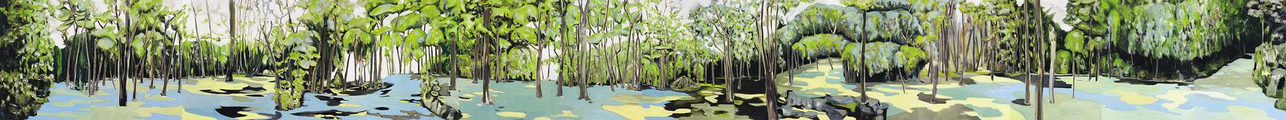 forêt, 170 x 1820 cm, (14 panels), oil on canvas, 2002