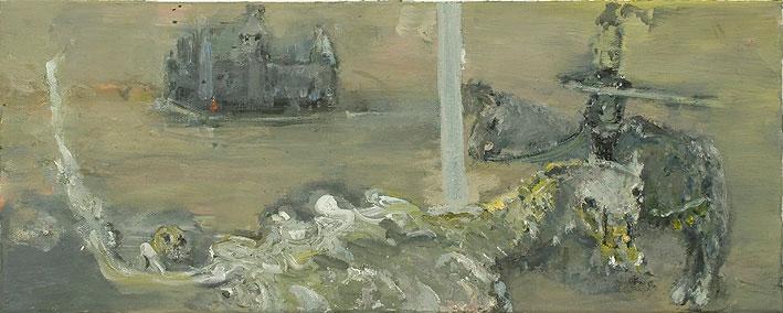 heiliger georg mit dem drachen, 20 x 50 cm, oil on canvas, 2007