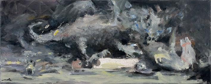 heiliger georg mit dem drachen (version peplum), 20 x 50 cm, oil on canvas, 2007-2008
