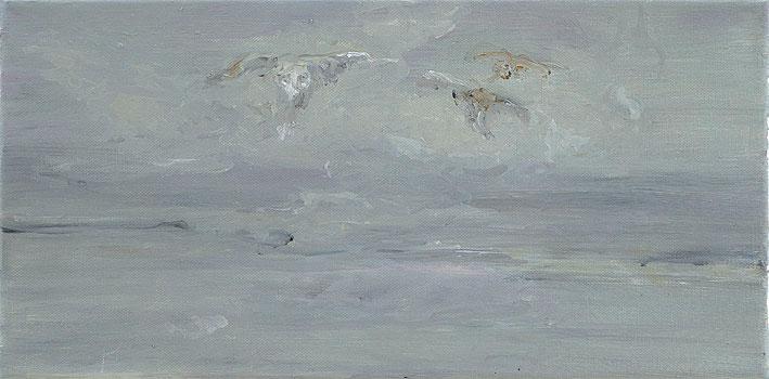 3 uhus, 20 x 40 cm, oil on canvas, 2007