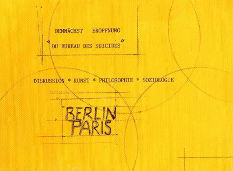 Le Bureau des Suicides, 2019, Werbepostkarte, Gouache, Bleistift, Typo Schreibmaschine, 14 x 20 cm