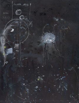 Cosmos Notiz, 2019, mixed media on cotton, 170 x 130 cm