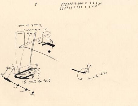 Périmètrique, 1990-91, nach dem Zufallsverfahren der Poulinière entstandene Zeichnung, Tusche auf Papier, 29,7 x 21 cm